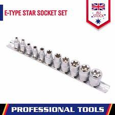 "11-Piece Female Torx Star Socket Set External E Type E4-E20 3/8"" 1/4"" Drive Rail"