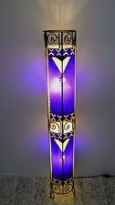 Painted Moroccan Henna Floor Lamp- Round Tube - Purple & Cream 130CM