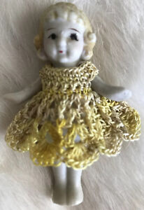 Crochet Dress for 2 1/2- 2 3/4 Frozen Charlotte Flapper Bisque Penny Doll Yellow