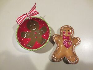 Mudpie Ceramic Gingerbread Candy Dish/Dip Cup/Nut Bowl & Gingerbread Spoon Rest