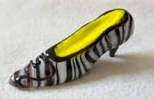 Vintage Miniature Glass Shoe Zebra Stripe High Heel Marked Ff made in China