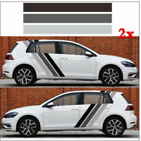 Pair Car Side Tricolor Stripes Style Srickers Vinyl Graphics Decals Waterproof