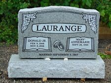 Cemetery headstone monument- 100% granite, gray- multiple engraving options