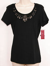 JM Collection Womens Knit Shirt Small S Beaded Black Short Sleeve Studded New