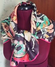 NWT! MINT! ECHO NY 40-inch Silk Square Scarf - Graphic Floral-Pink/Green/Brown