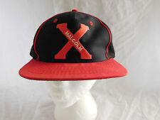 Vintage Malcolm X Baseball Cap Hat Snapback Black Red Pinstripe