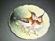 Antique L.R.L. Limoges Hand Painted Plaque Charger Plate Game Birds Signed