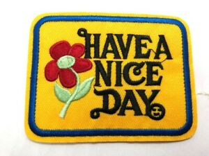 Have a Nice Day Iron-on Patch Vintage 70s Style Retro Hippie Boho Flower