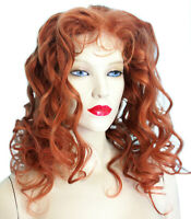 Human Hair Full Lace Wig Indian Remi Remy Auburn Red Curly Wavy Premium Long