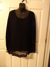 Black Sweater Junior Ladies Lace trim Accents Size Large Junior 100% Acrylic