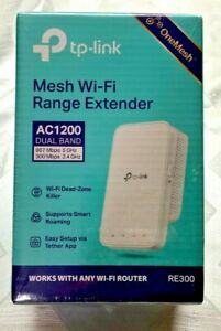 TP-Link RE300 AC1200 Wireless Dual Band Mesh WiFi Range Extender Repeater. NEW