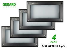 6w LED Charcoal Grey Recessed Brick Wall Light Outdoor 225 X 125mm Ip66