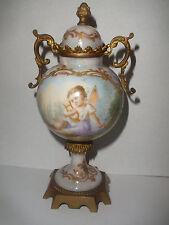 Antique France Sevres PG hand painted cherub angel putti porcelain cabinet urn