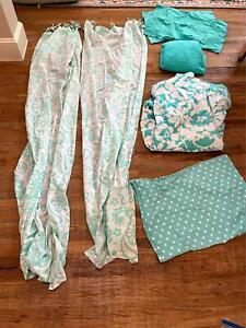 PBteen Cotton Curtain For Home Decor Hawaiian Twin Set Sheets, Duvet, 2 Curtains