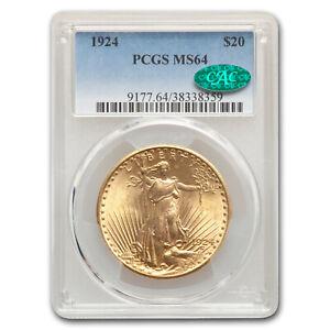 1924 $20 Saint-Gaudens Gold Double Eagle MS-64 PCGS CAC - SKU#167206