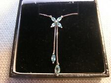 9CT WHITE GOLD AND BLUE TOPAZ NECKLACE