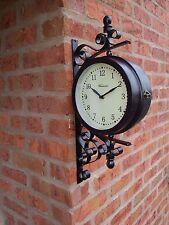 Jardin extérieur grand mur steam punk station horloge & température, émerillons 49cm