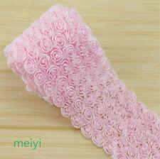 1 Yd 6 Row Baby Pink 3d Chiffon Rose Flower Lace Trim Wedding Bridal Ribbon DIY