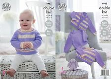 "King Cole DK  Knitting Pattern 4913: Easy Knit Sweaters & Cardigan,14""-22"""
