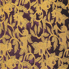 Drapery Upholstery Fabric Chenille Floral Leaf Vine Design - Gold / Royal Purple