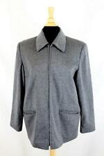 Womens Saks Fifth Avenue Wool Cashmere Jacket Dress Coat full zip Gray 12 Large