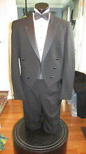 MENS VINTAGE PEAK LAPEL BLACK TAIL TUXEDO RAFFINATI 42L 4 PCS NB3