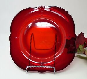 """Red Depression Glass Paden City Crow's Foot Ruby Square Luncheon Plate 8 1/2"""""""