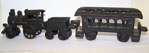 Vintage Cast Iron Mini Train Set -  Locomotive with Tender & Passenger Car