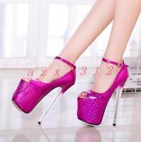 Sexy Women's Synthesis Pump Platform Open Toe Super High Heel Sandals Shoes Size
