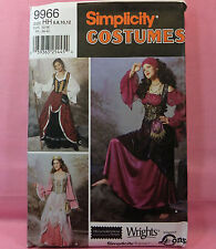 Simplicity 9966 Peasant Gypsy Gown 3 Looks costume Sewing Pattern sz 6-12 new
