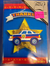 Rescue Team Police Fire Emt Vehicles Birthday Party Dlx Thank You Notes Cards
