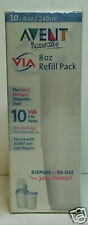 10 AVENT 8 OZ. VIA BASES REFILL PACK DISPOSE / RE-USE FOR USE ANTI COLIC NIPPLES