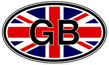 "Great Britain GB Euro Union Jack Oval  car bumper sticker decal 5"" x 3"""