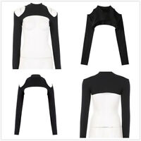 Women Hollow Out Open Front Long Sleeve T-shirt High Neck Cotton Crop Top Blouse