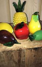 6 Piece Vintage Murano (?) Blown Glass Fruit