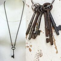 Real Antique Skeleton Key Necklace pendant Men's jewelry old steampunk victorian