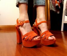 Size 7 I Love Billy Chunky Orange Platform Heels