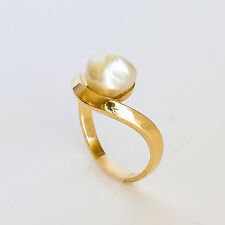 NATURAL SOUTH SEA KESHI PEARL RING GENUINE 9K 375 9CT GOLD SIZE L NEW