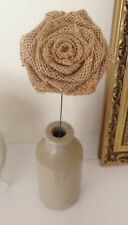 Hessian Roses Stemmed Natural or Ivory Handmade Bouquets Wedding x 10