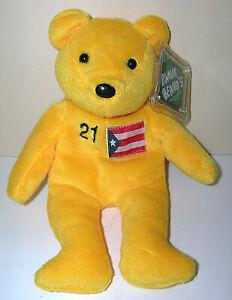 "Roberto Clemente #21 Yellow 1999 Salvino's Bamm Beano's Beanie Bear 8"" w/ Tags"