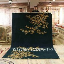 YILONG 8'x11' Handknotted Wool Carpet Chinese Art Deco Home Bamboo Area Rug
