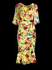 NWT Saloni Olivia Floral Print Lemon Yellow Poppies Dress Size 8 US Org $650.00