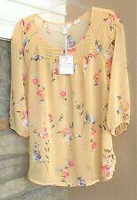 LC Lauren Conrad Women's Sheer Yellow Floral Blouse Shirt Peasant Top Medium