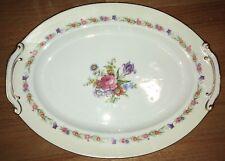 "Sango Oval Serving Platter 16"" Pink Rose Purple Tulip Flower Occupied Japan Gold"