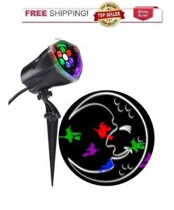Halloween LED Projection Plus Whirl a Motion + Static Multi Color Moon & Witch