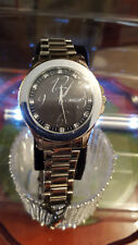 mens morgan silver bracelet watch,black face crystal set,new with tags.#bm