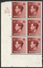 1936 1½d Red Brown A36 Cylinder 12 no dot Block of 6 Mounted Mint V87817