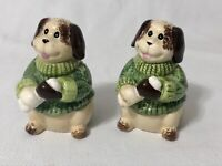 GKAO Salt and Pepper Shakers Brown & White Dog with Green Sweaters Holding Bone