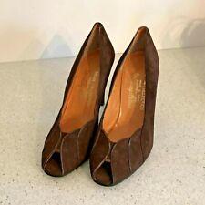 Vintage Strambridge & Clothier brown suede leather peep toe pumps shoes heels