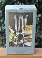 New MIB AMORE BY GORHAM Toasting Pair Fluted Crystal Champagne Glass Set (2)